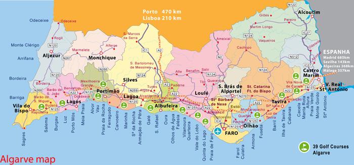 mapa do algarve para imprimir ALGARVE   UM LUGAR AO SOL mapa do algarve para imprimir